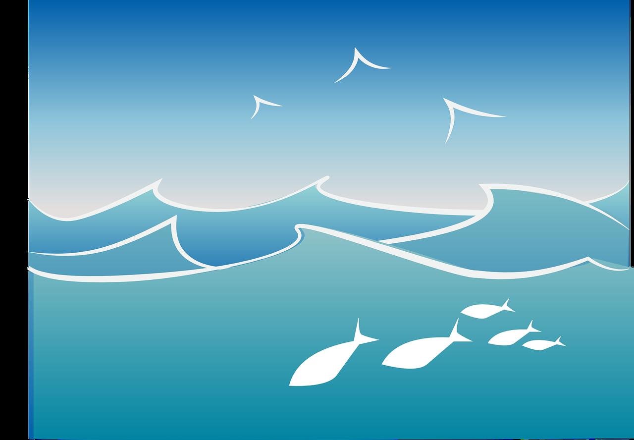 Oceano [vettoriale via pixabay, by Wild0ne, CC0 Creative Commons, Libera per usi commerciali, Attribuzione non richiesta]