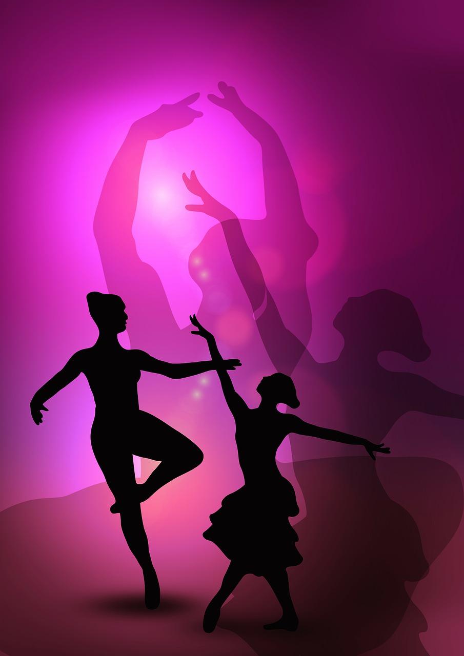 Balletto, ballerine, ballerini in purple [photo-grafica by geralt, via pixabay, CC0 Creative Commons, Libera per usi commerciali, Attribuzione non richiesta]